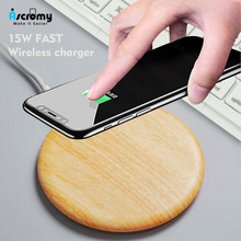 Ascromy Qi Wireless Charger Pad For iPhone Xs Max XR XS X 8 Plus 15W Fast Wood Charging Dock Pad For Samsung S10 S9 S8 S7 Note 9