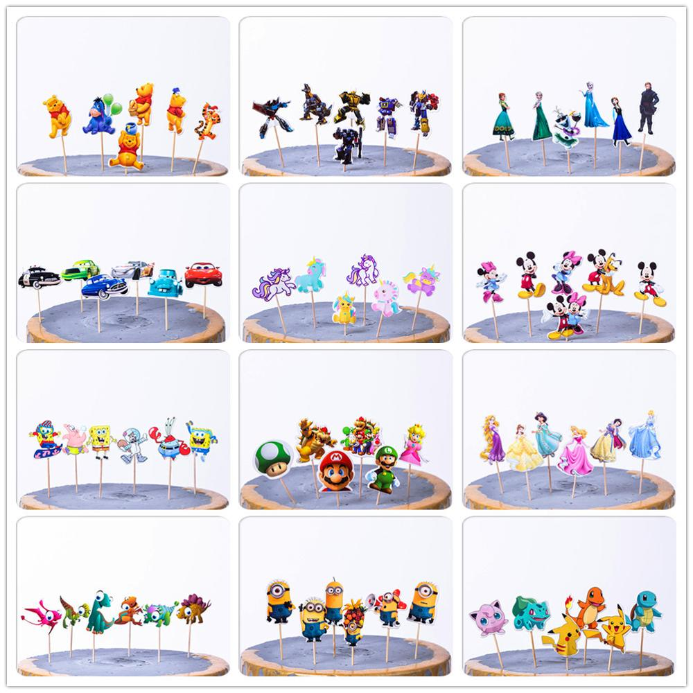 24 pcs/pack Mickey Mouse Cupcake Toppers Birthday Cake Topper Decorating Picks Kids Wedding Party Decorations Baby Shower Favors