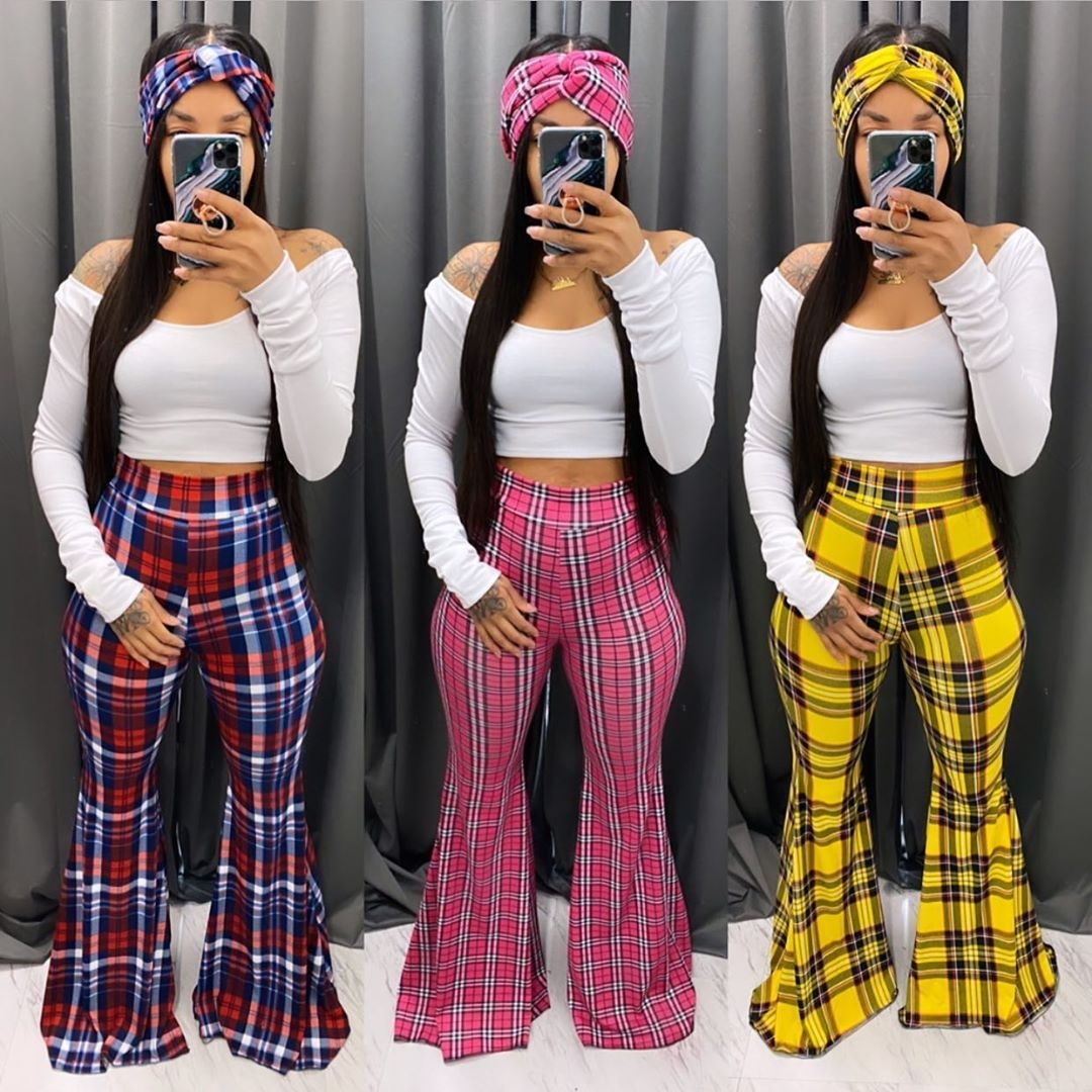 ANJAMANOR Plaid Print High Waisted Flare Pants For Women 2020 Fashion Sexy Bell Bottom Pants Casual Trousers D91-AD36