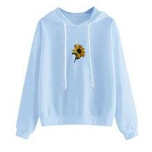 Oversize Sunflower Print Hooded Women Sweatshirt Pullover Lo