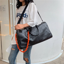 PU leather travel bag female portable large capacity lightweight simple luggage fitness embossed duffle