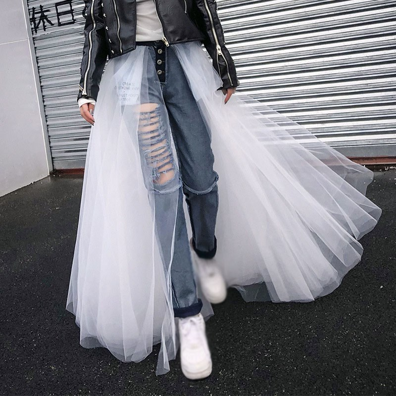 Patchwork Mesh Denim Pencil Pants Hole Female Ripped High Waist Vintage Jeans Women Casual Clothes