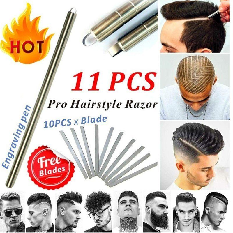 Hair Tattoo Trim Styling Engraving Pen Face Eyebrow Shaping Scissors Device Multifunctional Beards Razor Hairdressing Tool