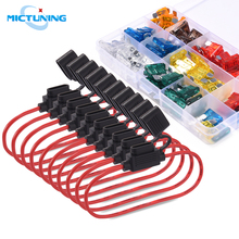 MICTUNING Car Truck 120pcs Blade Fuses Standard Fuse Assortment kit Universal with 10pcs 14 AWG Inline Fuse Holder & Fuse Puller