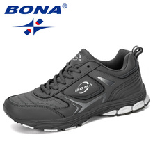 BONA 2019 New Designer Men Sneakers Shoes Male Outdoor Cow Split Running Shoes Trendy Trainers Masculino Shoes Man Jogging Shoes