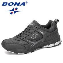 BONA 2019 Yeni Tasarımcı Erkek Sneakers Ayakkabı Erkek Açık Inek Bölünmüş koşu ayakkabıları Moda Eğitmenler Masculino Ayakkabı Adam koşu ayakkabıları