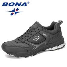 BONA 2019 nowy projektant męskie trampki buty do biegania męskie na zewnątrz krowy skóra Split buty do biegania modne sneakersy Masculino buty do biegania dla mężczyzn buty