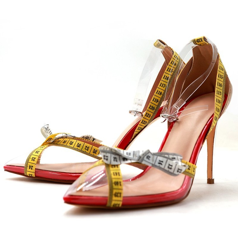 Womens Pointed Toe Clear Transparent PVC Tape Measure Stilettos High Heel Pumps Sexy Shoes Ankle Belt Buckle New Plus Size
