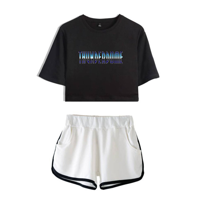 Thunderdome music Festival Printed Hip Pop Summer Cool Two Pieces Sets Navel Women T-shirts+shorts Harajuku Fashion Pullover Set 6