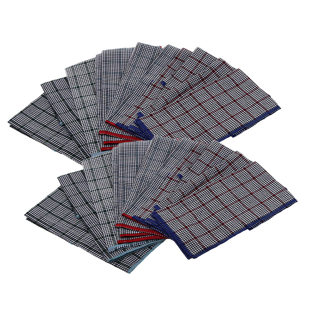 24pcs Vintage 100% Cotton Handkerchiefs Soft Pocket Squares For Mens Suits  40 X 40 Cm