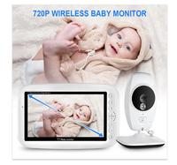 FUERS 7Inch Baby Monitor Large LCD Display 720P High Resolution Baby Camera Wireless Connection Night Vision Temperature Sensor