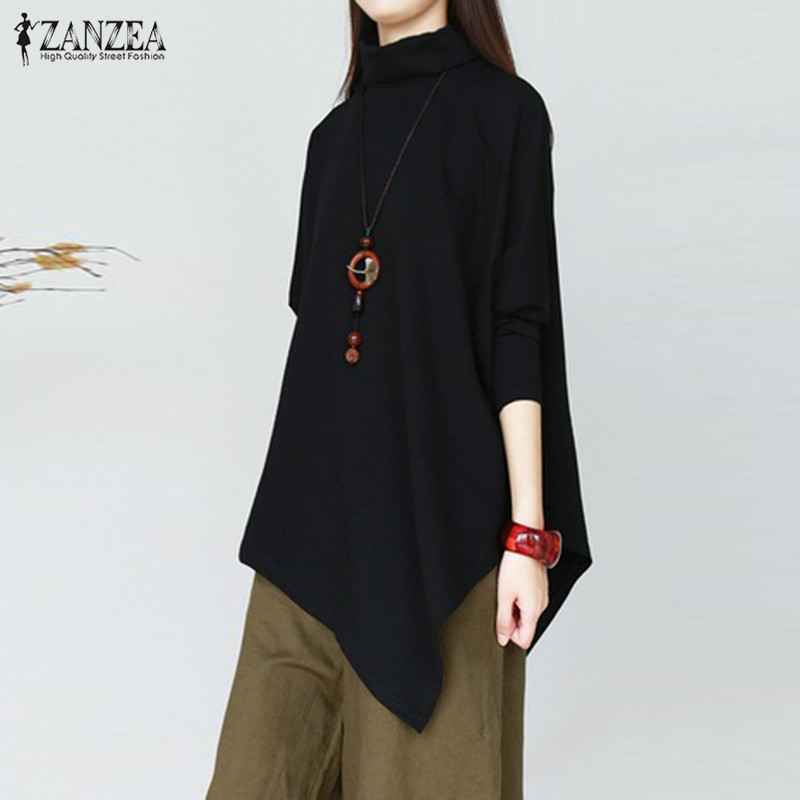 Fashion Asymmetrical Shirts Women's Turtleneck Blouse 2020 ZANZEA Spring Long Sleeve Blusas Female Solid Top Plus Size Chemise