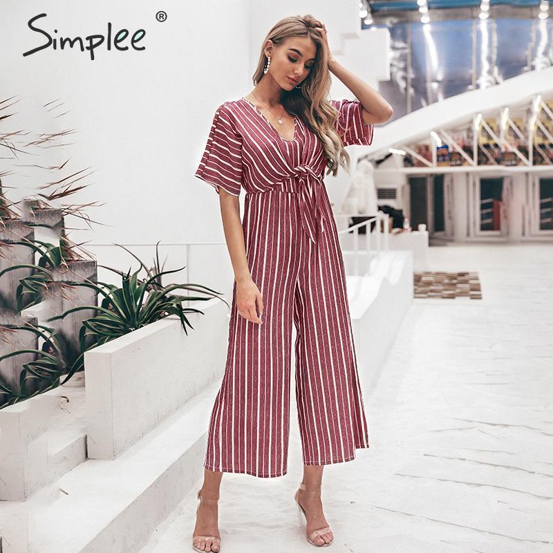 Simplee Vintage Striped V Neck Long Jumpsuit Summer Sashes Short Sleeve Overalls Elegant Wide Leg Office Ladies Jumpsuits Romper