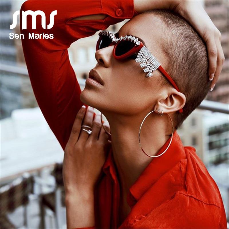 Vintage Sexy Red Women Tassel Diamond Sunglasses Luxury Brand Designer Fashion Black Cat Eye Rhinestone Glasses Oculos Feminino