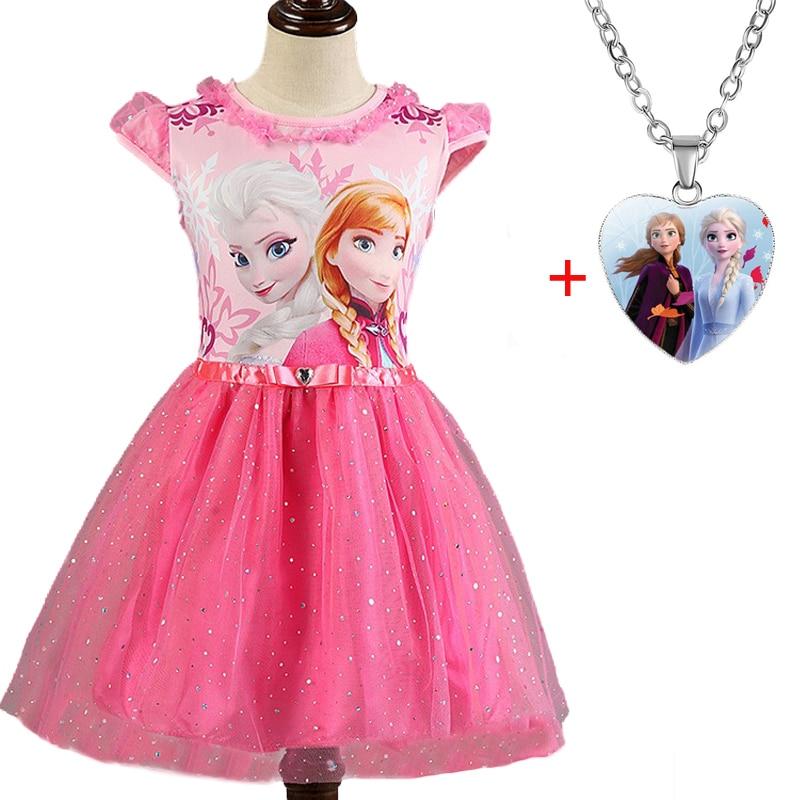 Elsa Anna 2 Dresse Set For Girls Carnival Costume Kids Dresses Children Christmas Cosplay Bithday Party Dresses