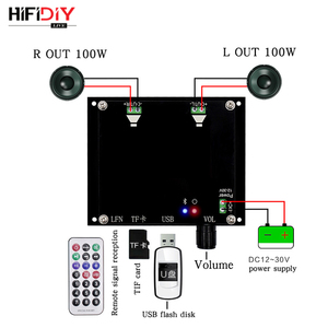 HIFI XH-A106 100W*2 Bluetooth 5.0 TDA7498 Wireless Digital Power amplifier board Stereo Audio AMP amplificador TF Card USB Disk