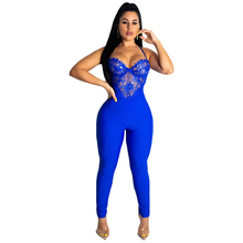 Blue Lace Patchwork Sexy Jumpsuits Women Spaghetti Strap Sleeveless Party Bodysuit Deep V Neck Backless See Through Romper blue see through spaghetti bodysuit teddy