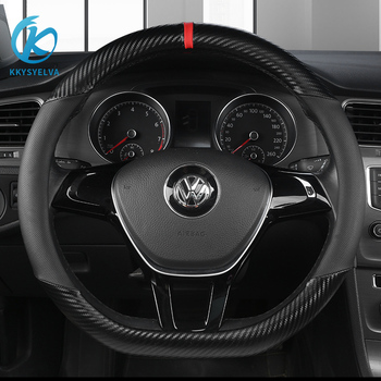 KKYSYELVA D Shape Steering-Wheel Black Auto Car Steering Wheel Cover Leather +Carbon Fibe 38CM wheel cover Interior accessories 1pcs 37 38cm diy car auto steering wheel cover suede material car steering wheel cover needle and thread interior accessories