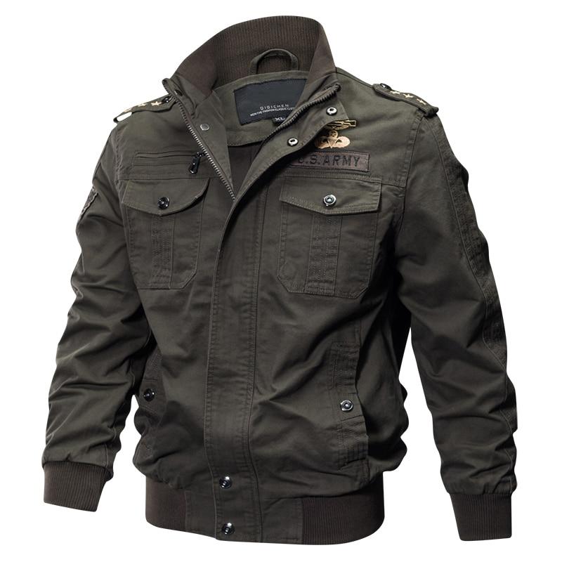 2019 Plus Size Military Jacket Men Spring Autumn Cotton Pilot Jacket Coat Army Men's Bomber Jackets Cargo Flight Jacket Male 6XL