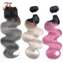 Bobbi Collection 1 Bundle Brazilian Body Wave Ombre Grey Pink Rose Golden Remy Human Hair Extension Ombre Hair Weave Bundles