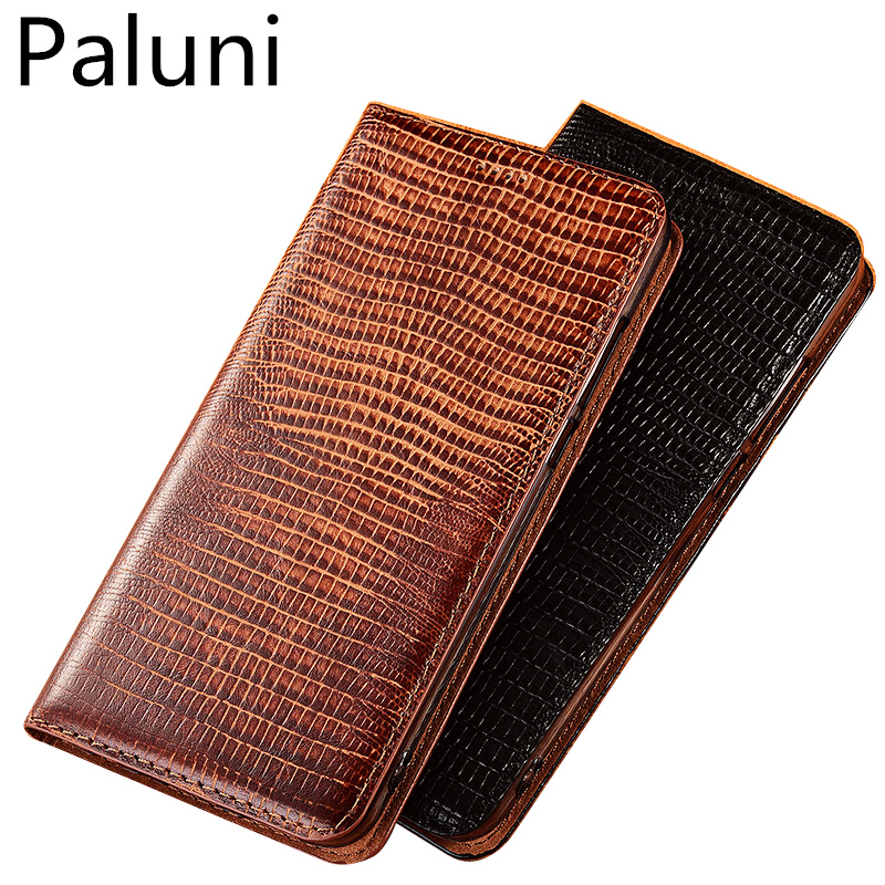 High-end lizard pattern natural leather case card slot holder for LG G8 ThinQ/LG G7 ThinQ magnetic phone case flip funda capa