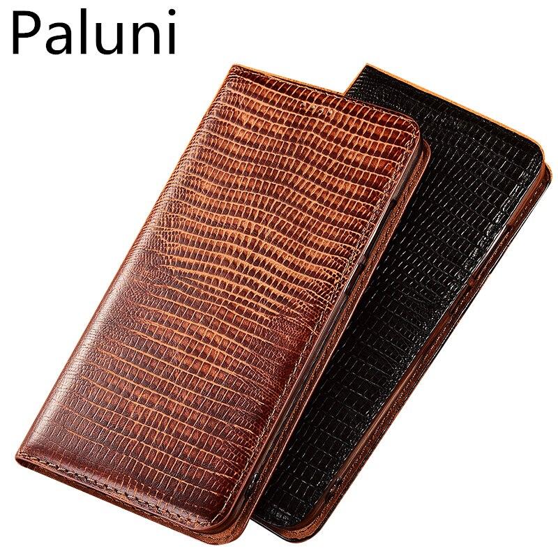 High-end lizard pattern natural leather case card slot holder for LG Q60/LG K12 Plus magnetic phone case cover flip funda capa