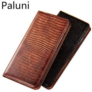 Image 1 - High end lizard pattern natural leather case card slot holder for Xiaomi Mi A3/Xiaomi Mi A2/Xiaomi Mi A1 magnetic phone case