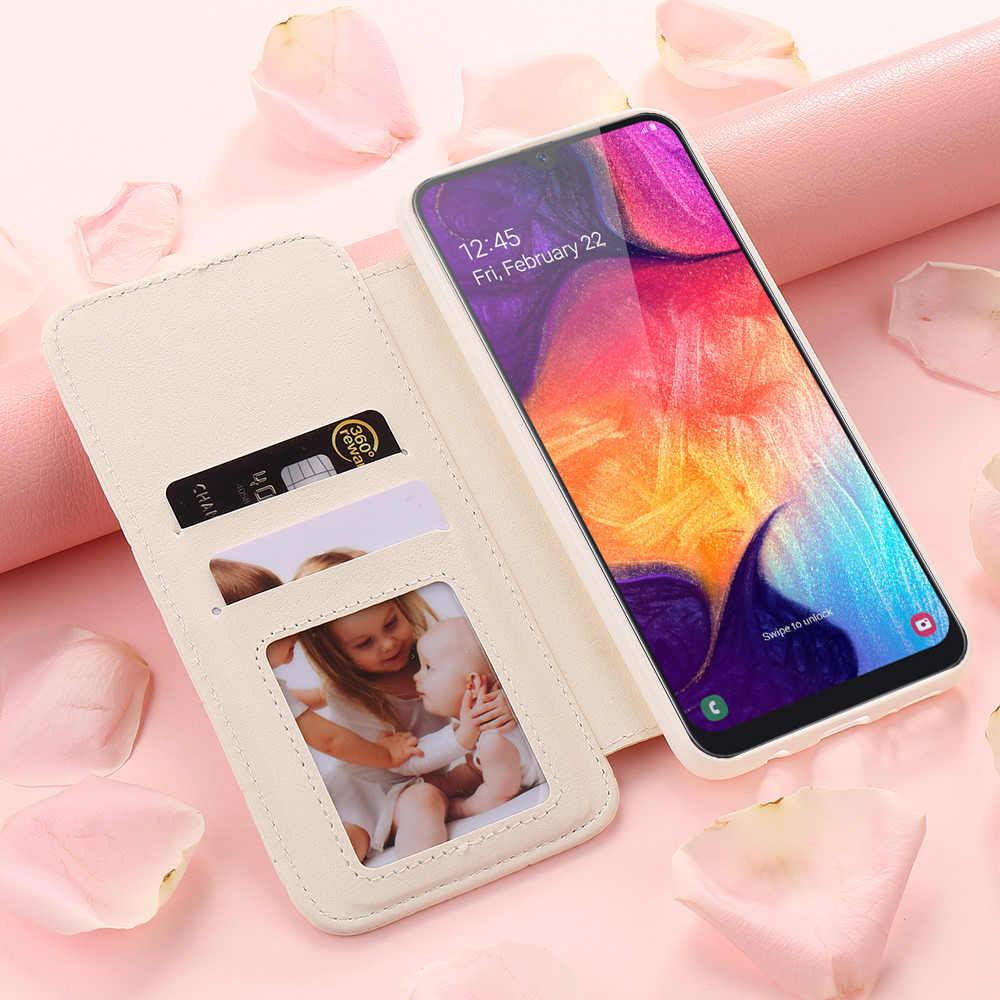 Ví Cầm Tay Cao Cấp Lật Ốp Lưng Điện Thoại Samsung A70 A50 A30 A20 Cô Gái Da Cho Galaxy A8 2018 A7 A6 a5 A3 J6 J4 Plus J3 2017