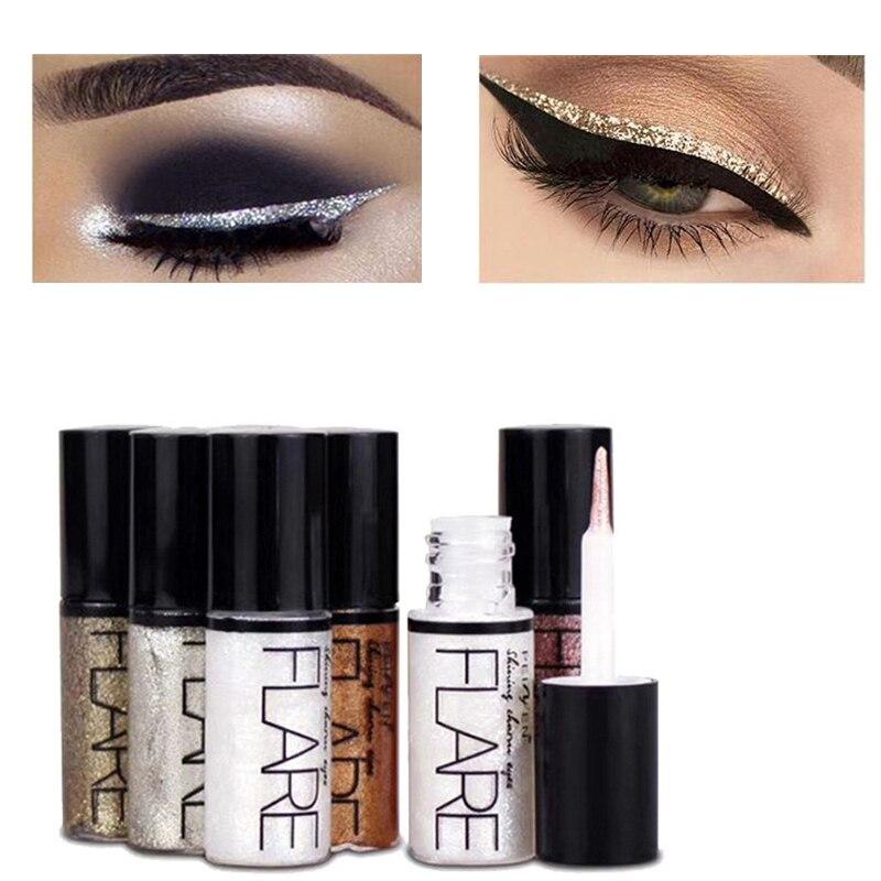 Nova Brilhante Forros Do Olho Cosméticos para As Mulheres de Prata Cor de Rosa de Ouro Líquido Delineador Glitter Maquiagem