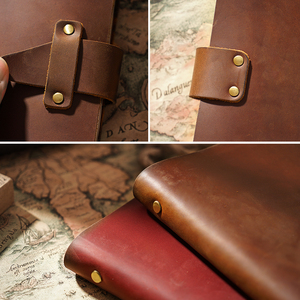 Image 2 - High Quality Rustic Genuine Leather Rings Notebook A5 Spiral Diary Brass Binder Journal Sketchbook Agenda Planner Stationery
