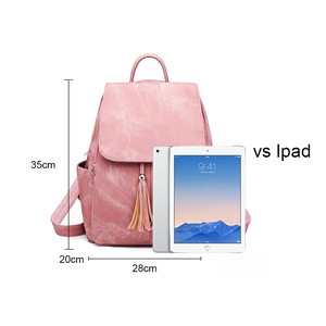 Image 4 - Pink Vintage Backpack Women Back Pack Leather Bag Tassel Female Bagpack Student Girl Teenager Backpack Feminina 2020 sac a dos