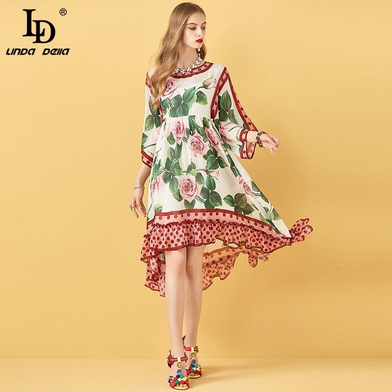 LD LINDA DELLA Sommer Plus Größe Kleid Frauen Rose Floral Print Chiffon Rüschen Strand Asymmetrische Lose Kleid Damen Midi Kleid