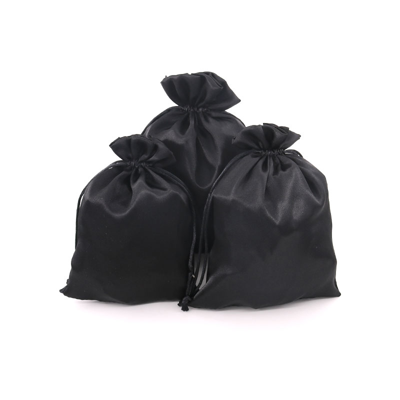 10pcs/lot Pure Black Satin Bags Glossy Gift Pouches 2 Size Jewelry Earrings Bracelets Display Package Can Be Customized As Need