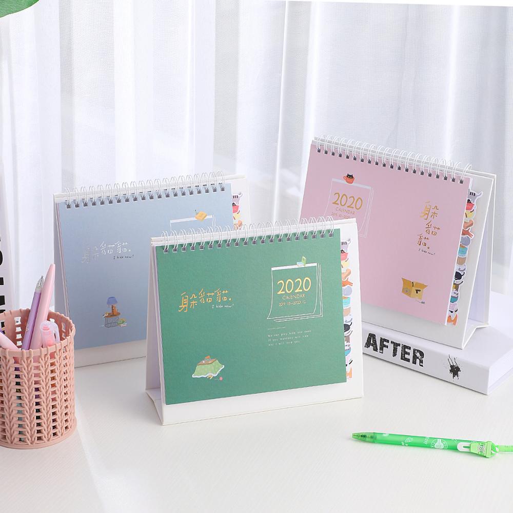 JIANWU 2019 2020 Cute Cartoon Calendars Desk Coil Calendar DIY Multifunctional Planner Daily Scheduler School Supplies Kawaii