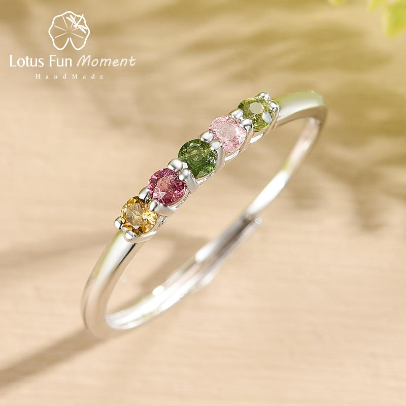 Lotus Fun Natural Tourmaline Gemstone Fashion Multicolor Ring Real 925 Sterling Silver Fine Jewelry Wedding Rings for Women Gift