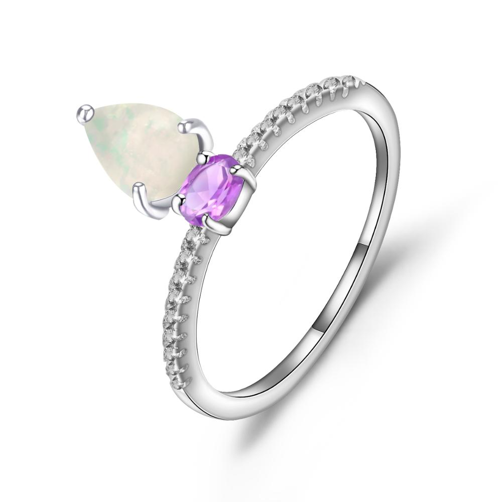 GEM'S BALLET 925 Sterling Silver Water Drop Vintage Rings Natural African Opal Amethyst Gemstone Ring for Women Fine Jewelry
