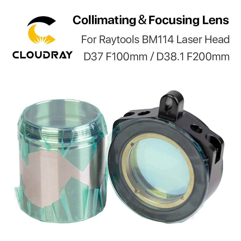 Cloudray BM114 Collimating & Focusing Lens D37 F100 & D38.1 F200mm With Lens Holder For Raytools Laser Cutting Head BM114