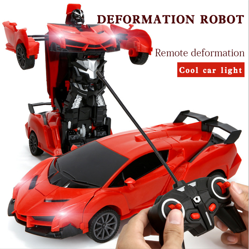 One-key Deformation Robot Toy Transformation Electric Car Model with Remote Controller Luminous Toy