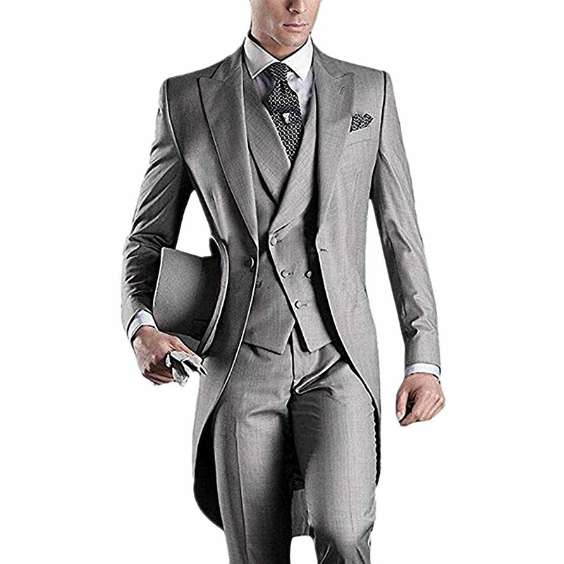 Men Handsome Wedding Tailcoat Dress Suits For Groom Vintage Banquet Prom Tuxedo Big Tail Blazer Jacket Waistcoat Trousers