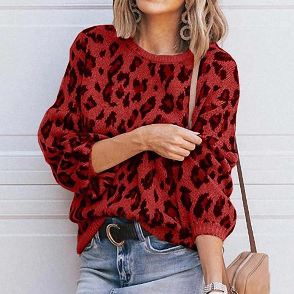 Las mujeres leopardo suéter moda sólido Casual suéteres de cuello de punto traje de suéter nuevo 2019, Top Женский свитер