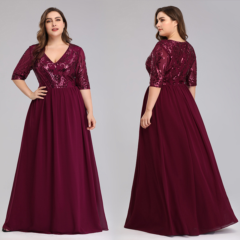 Burgundy Evening Dresses Shiny Sequin Women Party Gowns R159 Deep V-Neck Formal Robe De Soiree Half Sleeve Elegant Vestidos 2020