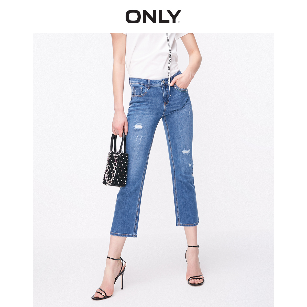 ONLY  Women's Light Color Low-rise Ripped Slightly Flared Crop Jeans | 119149623