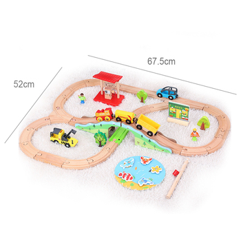 Green Forest Train Track Wooden Small Train Toy Outfit Children's Train Transport Combination Toy Compatible Train Wooden Track фото
