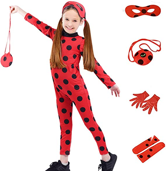 Child Size Costume for Girls - Red Dress Up Jumpsuit Party Little Beetle Suit for Cosplay