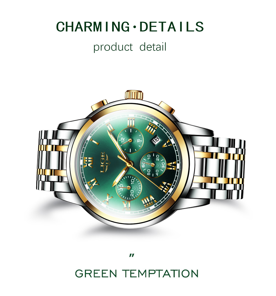H48522d780b324551a32286d64cdf7541J Watches Mens 2019 LIGE Top Brand Luxury Green Fashion Chronograph Male Sport Waterproof All Steel Quartz Clock Relogio Masculino