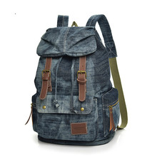 ins tide brand retro denim canvas backpack female European and American casual backpack male large-capacity travel backpack