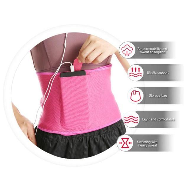 Adjustable Pocket Fitness Waist Belt Exercise Neoprene Weight Loss Sweat Waistband Slimming Gym Training Abdomen Lumbar Support 3