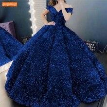 Kraliyet mavi abiye 2020 Lace Up Robe De Soiree Sparkly payetli Custom Made abiye giyim uzun kadın parti elbise resmi