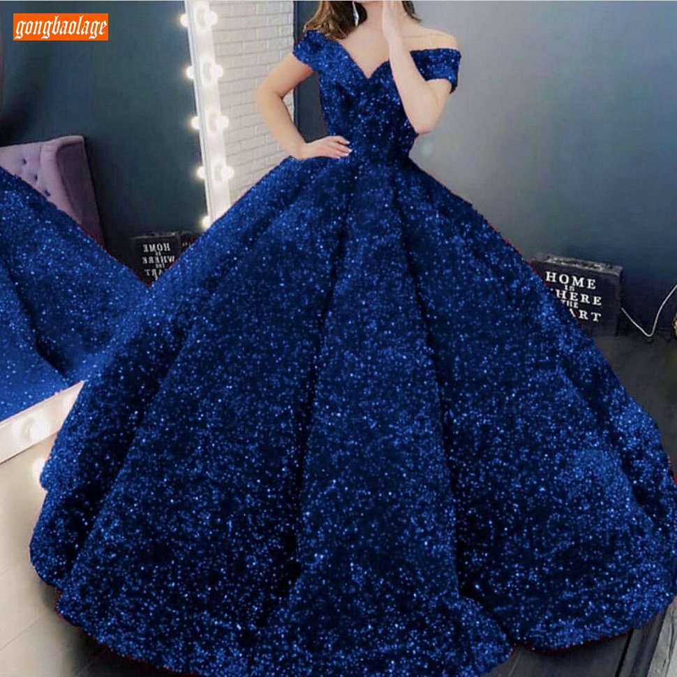 Royal Blue Evening Dresses 2020 Lace Up Robe De Soiree Sparkly Sequined Custom Made Evening Gowns Long Women Party Dress Formal