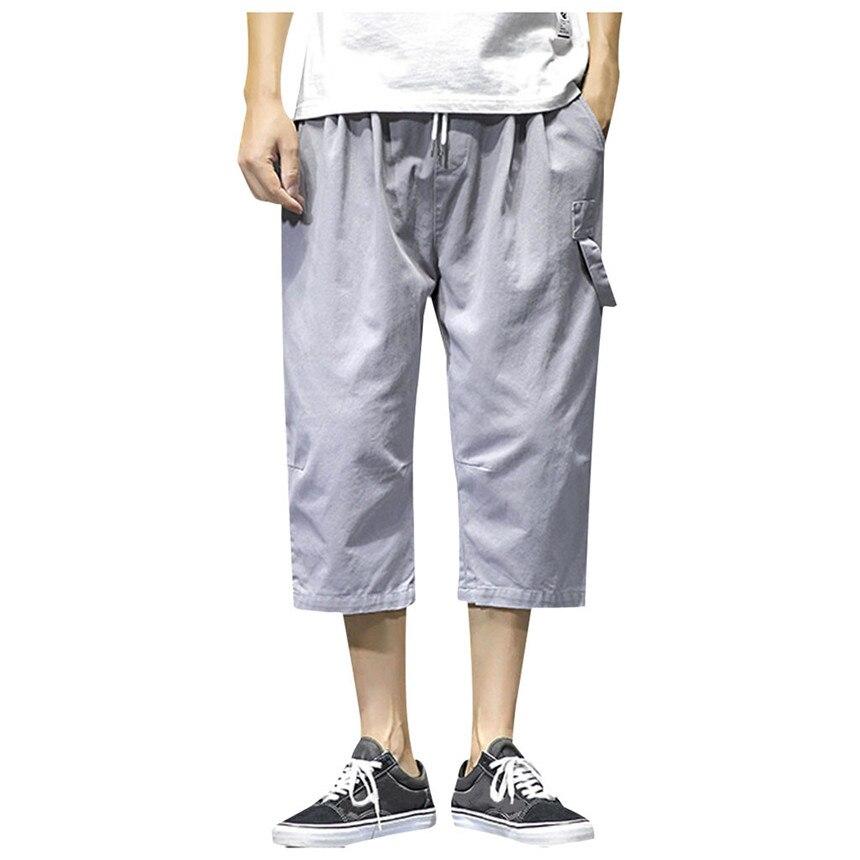 KLV Men's Pants Loose Casual Fashion Pants Pure Color Pocket Pants Comfort Sport Calf-Length Pants Hip Hop Singer Pants